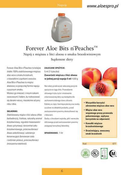 Miąższ Aloe Vera z Brzoskwiniami Aloe Bits'n Peaches ForeverAloes